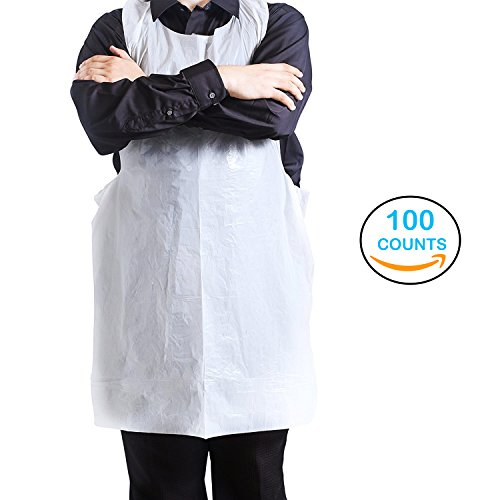 Disposable Aprons - 100 Plastic Aprons for Painting, Cooking or Any Other Messy Activities by Upper Midland by Upper Midland Products