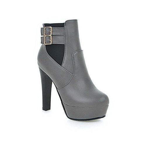 AllhqFashion Damen Niedrig Spitze Reißverschluss Weiches Material Hoher Absatz Stiefel, Schwarz, 38