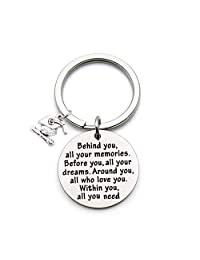 FEELMEM Graduation Gifts Behind You All Memories Before You All Your Dream Graduation Keychain Inspirational Graduates Gifts 2018, 2019