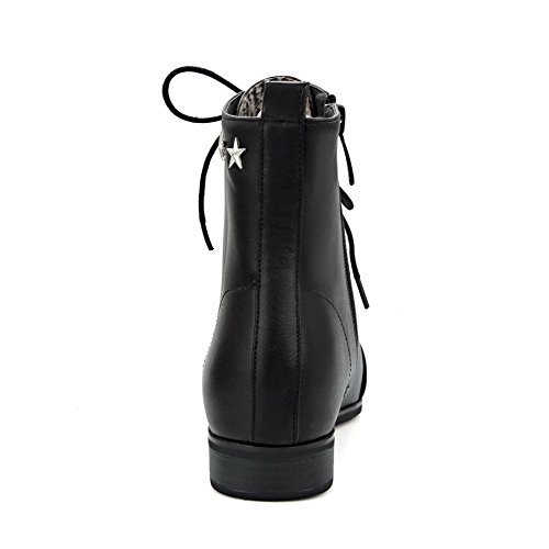 AgooLar Women's Low-Heels Solid Pointed Closed Toe Soft Material Zipper Boots Black COd7RZ5B86
