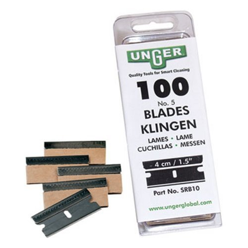 (Unger Safety Scraper Replacement Blades, 9, Stainless Steel, 100/Box)
