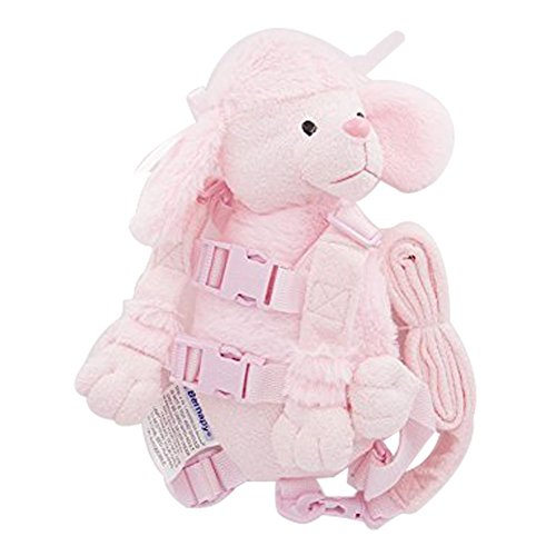Berhapy 2 in 1 Monkey Toddler Safety Harness Pocket Children's Walking Leash Strap (pink dog)