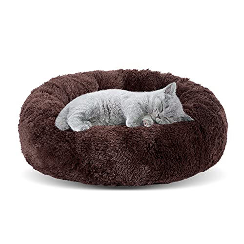 JOEJOY Round Dog Bed,Small Dog Bed for Small Dogs and Cats,Calming Donut Cuddler,Orthopedic Cat Beds for Indoor Cats,Short Plush Anxiety Dog Beds,Machine Washable, 20 inches Brown