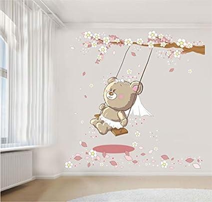 Adesivi Murali Orsetti.Adesivi Murali Cameretta Orsetto Fiori Altalena Orso 72 Cm Wall Stickers
