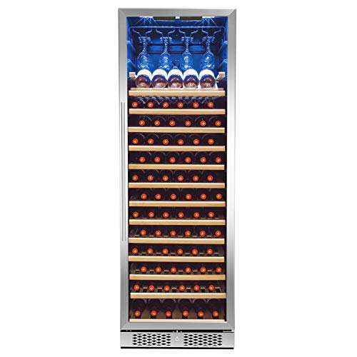 AKDY Wine Cooler Refrigerator - Beverage Chiller Fridge - Freestanding Thermoelectic - 83-Bottle Capacity - Red & White Wine - Temperature Control - Removable Shelves - Frost-Free - Ultra-Elegant