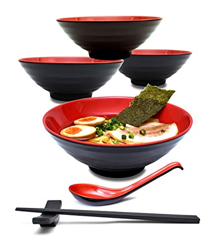 (4 Sets (16 Pieces) 34 Ounce Japanese Ramen Noodle Soup Bowl Melamine Hard Plastic Dishware Set with Matching Spoon and Chopsticks for Udon Soba Pho Asian Noodles (4, Red, 7.7 inches))