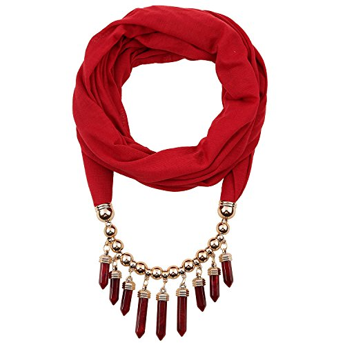 LERDU Women's Infinity Scarf with Necklace Attached in Goldtone