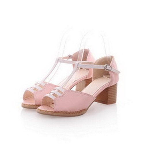 M Toe Heel T Kitten 5 Material Pink Soft Strap US Pumps with B Solid Women's Peep PU WeiPoot 4 TwE1Aq4n