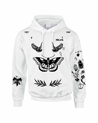 Allntrends Adult Hoodie Harry Tattoos 94 Cool Hooded Cute Trendy Gift (3XL, White)