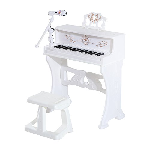 Qaba Kids 37 Key Lovely Princess Electronic Piano Keyboard with Stool and Microphone – White