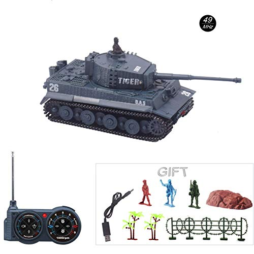 Fun-Here Mini RC Tank with USB Charger Cable Remote Control Panzer Tank 1:72 German Tiger I with Sound, Rotating Turret and Recoil Action When Cannon Artillery Shoots 49MHz (Gray) ()
