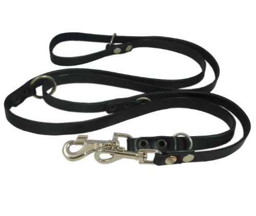 Dogs My Love Black 6 Way European Multifunctional Leather Dog Leash, Adjustable Schutzhund Lead 49