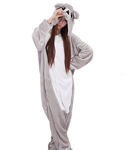 Cheap Animal Halloween Costumes (Japsom Grey Koala Bear Animal Kigurumi Cartoon Cosplay Costume One-Piece Pajamas S)