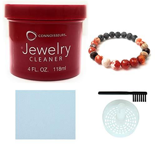 CONNOISSEURS Jewelry Cleaner, for Diamond, Gold, Platinum & Precious Stones Bonus Basket and Brush (4 Fl.Oz Jewelry Cleaner)