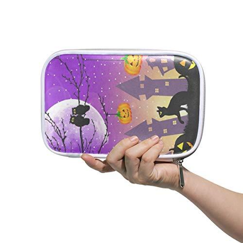 Halloween Pumpkin Owl Black Cat Big Pencil Case Multifunction Leather Cosmetic Brush Set Bag Holder Zip Pouch -