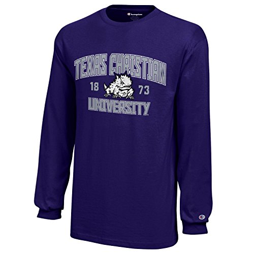 Champion NCAA TCU Horned Frogs Youth Boys Long sleeve Jersey T-Shirt, Medium, Purple -