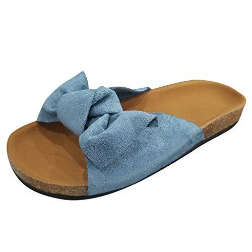 Women's Cork Sandals Bow Tie Flat Thick Bottom Heel Casual Girl Slipper Beach Shoes Suede Flip Slides (Blue, US:8.5)