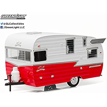 Greenlight Shasta Airflyte, Red w/ White 18225RD - 1/24 Scale Diecast Model Toy Car