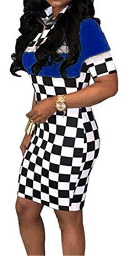 Carreaux En Forme Slim Femme Cromoncent Zip Robes Clubwear Moulante À Manches Courtes Bleu