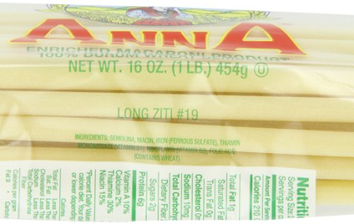 Anna Long Ziti #19 Pasta, 1 Pound Bags (Pack of 12)