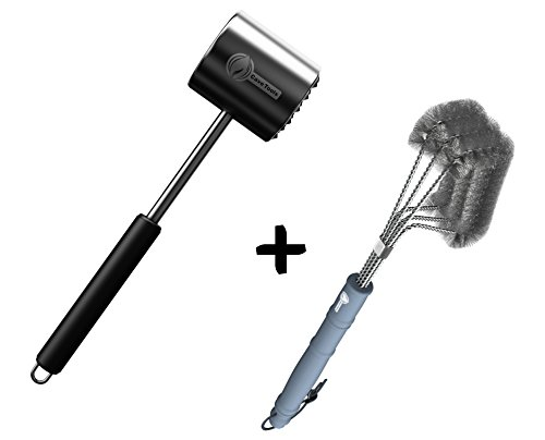 Tenderizer Mallet + BBQ Grill Brush - 100% RUST PROOF DESIGN - Stainless Steel Wire Bristles with Strength Clip for Cleaning Char Broil Weber Porcelain and Infrared Barbecue Grates - 18