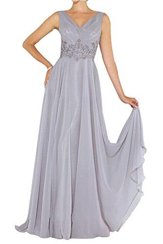 Spitze Promkleider Abendkleider mit La Elegant Silber Brautmutterkleider Brau Chiffon Abschlussballkleider mia Applikation Lang nwZC1qSzCg