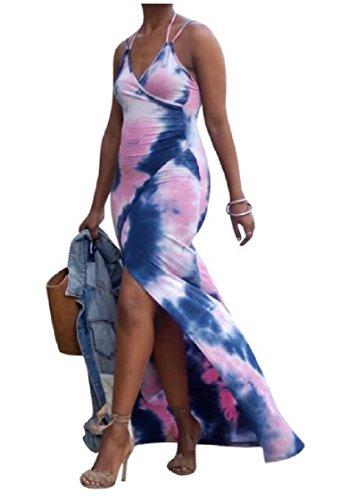 Irregolare As1 Legame Senza Sexy Dye Testiera Vestiti Da Maniche Estate Coolred donne Maxi t7wxgqx1