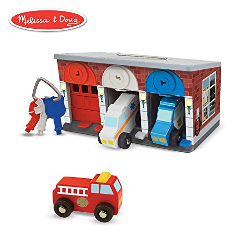 Melissa & Doug Keys & Cars Wooden Rescue Vehicle & Garage Toy (Emergency Vehicles, Great for Motor Skill Development, Color-Coded Keys) -