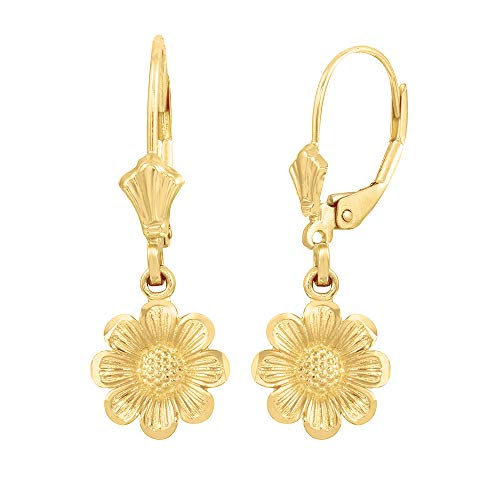 Solid 10k Yellow Gold Sunflower Dangle Earrings