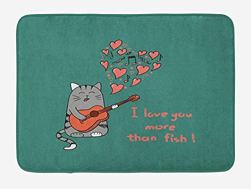 TAQATS I Love You More Bath Mat, Cartoon Singing Cat with Guitar More Than Fish Song Music Notes and Hearts, Plush Bathroom Decor Mat with Non Slip Backing, 23.6 W X 15.7 W Inches, Multicolor]()