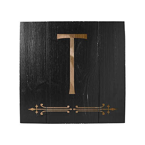 Cathy's Concepts Personalized Rustic Wooden Wall Art, Black, Letter T (Rustic Wooden Wall Letters)