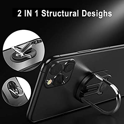 SIHUAN Mobile Phone Bracket, Phone Ring Holder-Two in ONE Multipurpose Mobile Phone Bracket Holder Stand 360 Degree Rotation for Car Home, Multiple-Angle Car Phone Mount