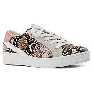 RF ROOM OF FASHION Women's Casual Low Top Trendy Fashion Sneakers Flats Snake PU Size.8.5