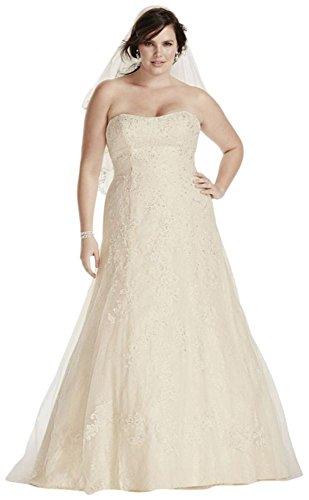 Jewel Lace A-Line Beaded Plus Size Wedding Dress Style 9WG3755 – 16 Plus, Ivory – Champagne