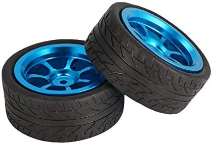 T-power 4 pezzi in metallo con cerchio in gomma per pneumatici Wltoys 1//18 RC auto A949 A959 blu