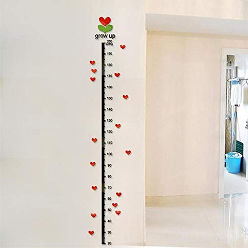 Wall Stickers - 1 8m Heart 3d Acrylic Height Measure Wall Sticker Growth Chart Nursery Room Decor Mirror Decals - Zoo Yoga Volleyball Arrows Math Eyelash Spanish Names Hang Polka