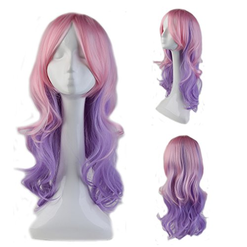 Anime Cosplay Wig with Bangs Pink Ombre Purple Heat Resistant Fiber Curly Full Wig Long Layered Natural Wave Wavy Synthetic Costume Wig Dip-dye 23'' / 58cm for Women Girls (Pink Purple (Adult Short Pink Wig)