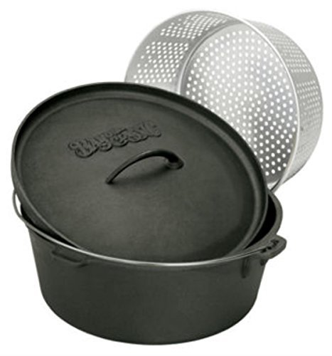 - Bayou Classic 7420 20-Quart Cast Iron Dutch Oven with Dutch Oven Lid and Perforated Aluminum Basket