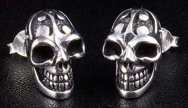 - Tattoo Skull .925 Sterling Silver Men's Stud Earrings