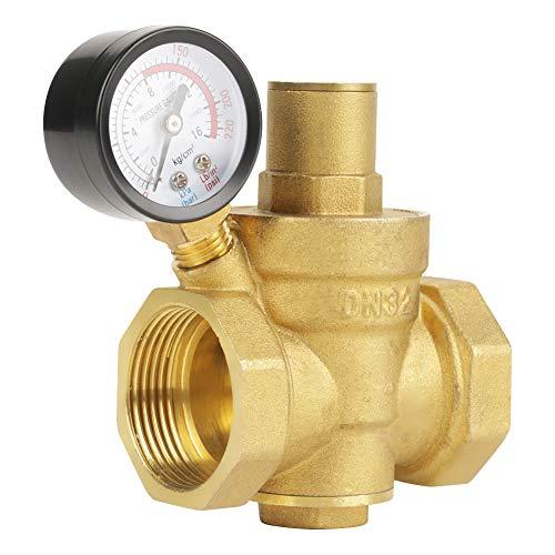 Pressure Reducing Valve, BSP DN32 1-1/4inch Brass Water Pressure Reducing Valve 1-1/4'' Adjustable Water Control Pressure Regulator Valve Thread with Gauge Meter 1.6MPa