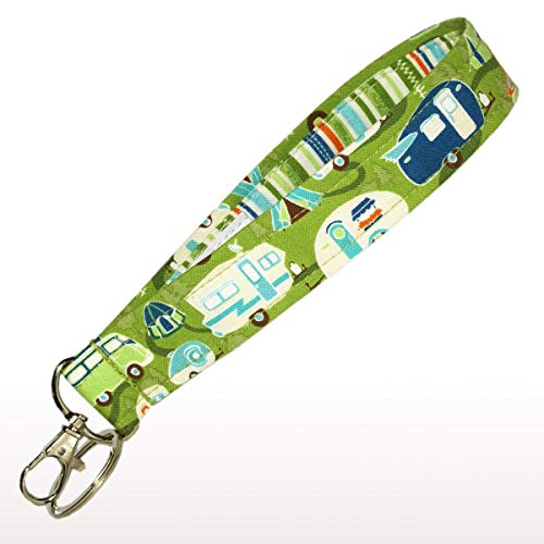 Camping Key Fob Strap - 6'' Camper Keychain - Green With Retro Campers - RV Accessories - Purse Strap by Green Acorn Kitchen