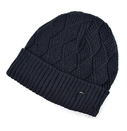 MJ-Young Classic Diamond Shaped Hat Winter Men Beanie Knitted Wool Hat Casual Caps Men