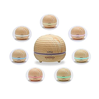 Essential Oil Diffuser, Swiftrans 300ml Aroma Wood Grain Ultrasonic Cool Mist Humidifier with 7 LED Color lights, 4 Timer Settings, Adjustable Mist Mode and Waterless Auto Shut-off for Office & Home