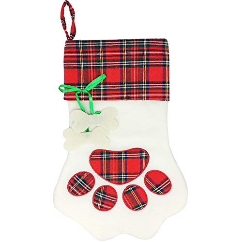 Malier Pet Christmas Stocking for Dogs Cats Pets Large Paw Hanging Dog Christmas Stocking Personalized- 18 x 11 Inches, Red