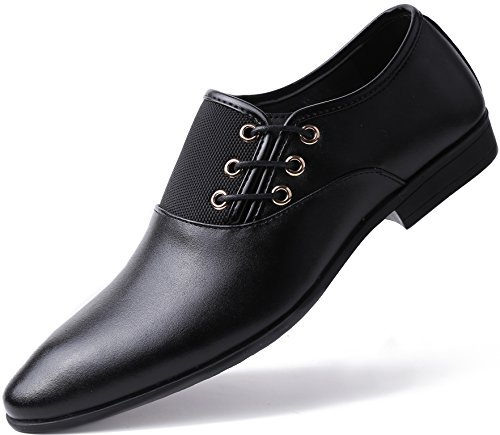 Marino Oxford Dress Shoes for Men – Formal Leather Shoes – Casual Classic Mens Shoes – Black – Side Lace – 10 D(M) US