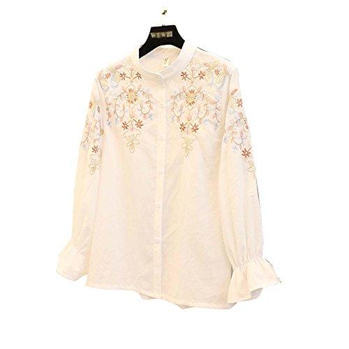 Délicat épaule Broderie Loose Blouse manches trompette Chemises en coton, blanc