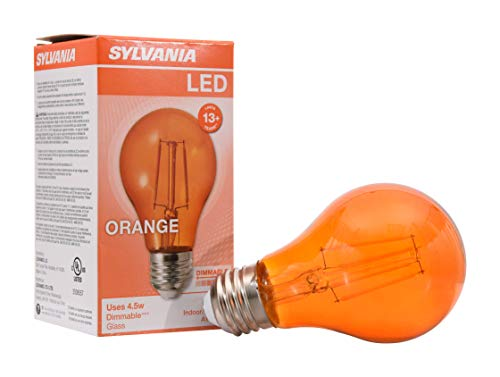Sylvania Halloween Lights (SYLVANIA General 40301 Orange Filament A19, Colored Glass Lamps, 4.5 Watts, for Decorative and Accent Ultra LED Light)