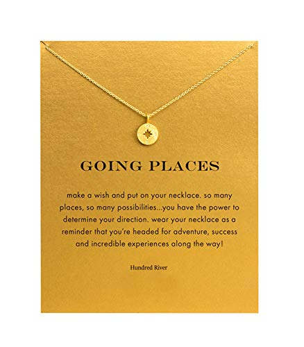 Baydurcan Friendship Compass Necklace Unicorn Good Luck Elephant Cross Necklace with Message Card Gift Card (gold compass) (Cheap Presents For Best Friends)