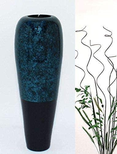 Green Floral Crafts – 14 inch H. Lacquer Tapered Vase with Branches Botanicals Kit – Silver Black