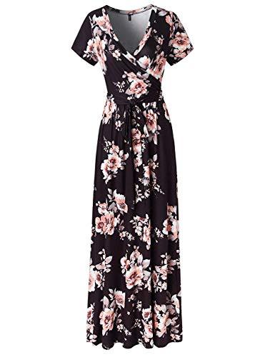 SEBOWEL Women's Casual Floral Print Wrap Waist Bow Belt A-line Long Maxi Dress Black-XL